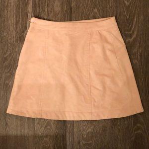 Light Pink Suede Mini Skirt